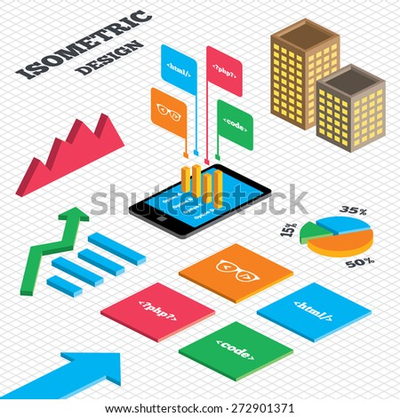 Isometric Design Graph Pie Chart Programmer Stock Vector Royalty