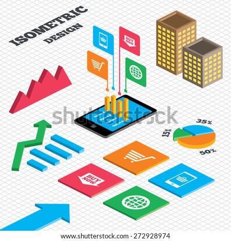 Isometric Design Graph Pie Chart Online Stock Vektorgrafik