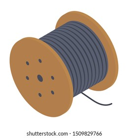 Isometric design icon of wire roll