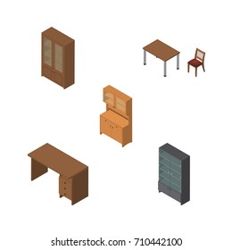 Isometric Design Set Of Cupboard, Cabinet, Sideboard And Other Vector Objects. Also Includes Table, Desk, Cupboard Elements.