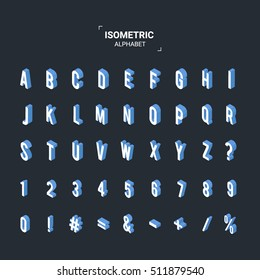 Isometric design style font. ABC alphabet. 3d Letters, numbers and symbols. Flat vector illustration.