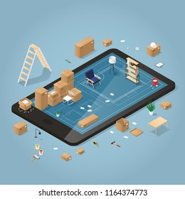 Isometric detailed concept illustration of online planing on moving to a new house. Cardboard boxes with furniture, couch, wheel chair, lamp, different instruments and tools.