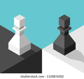 Isometric different white and black chess pawns standing on two sides. Opposition concept. Flat design. Vector illustration, no transparency, no gradients
