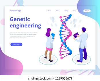 Isometric Digital DNA structure in blue background. Science concept. DNA sequence, Nanotechnology vector illustration.