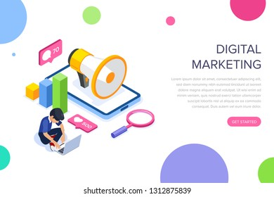 Isometric digital marketing concept. Man is engaged in promotion against the background of a megaphone and a mobile phone. Internet advertising. Can use for web banner, infographics, hero images.