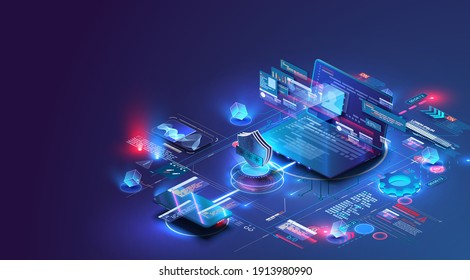 Isometric digital protection mechanism, system privacy. Online file server protection system concept with computer and lock (shield) . Web page design templates Cybersecurity. Vector isometric. Blue