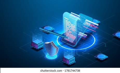 Isometric digital signature concept with phone and pen. Mobile document manager or e-signature business concept vector isometric illustration. Blockchain or Smart Contract landing page design.