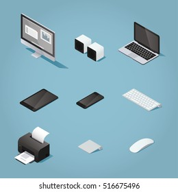 Isometric digital vector objects set illustration. Collection of computers and supplies: desktop, speakers, laptop, tablet, phone, keyboard, printer, track pad, mouse.