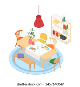 Isometric dinning room on white. Vector illustration in flat design, isolated.