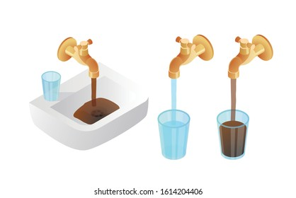 Isometric dirty water pour faucet. Clean and dirty glass water. Problem of pollution water concept. Elements for illustration