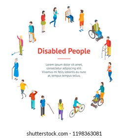 Isometric Disabled People Characters Banner Card Circle Blind Patient. Vector illustration of Disability Persons
