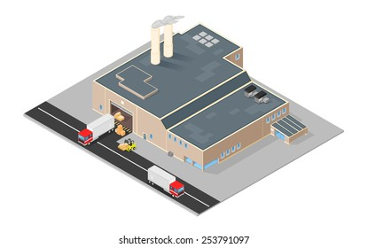 Isometric distribution warehouse with trucks loading and unloading goods. Isometric Factory distribution warehouse. Manufacturer distributing goods.