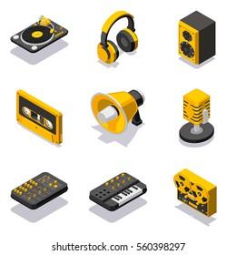Isometric dj equuipment icon set