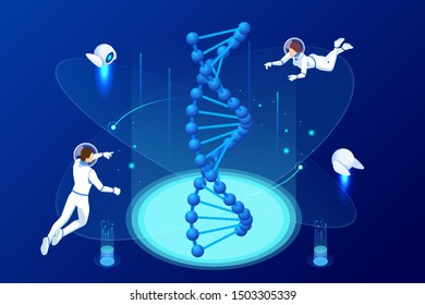 Isometric DNA structure in space. Astronauts work on DNA concept. Wireframe DNA molecules structure Digital blue background. Innovation, medicine, and technology.
