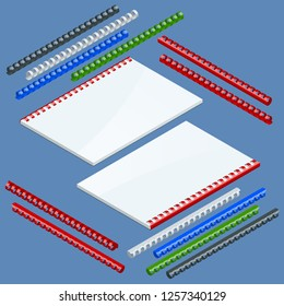 Isometric Document binding components and springs for fastening of catalogs, plastic springs for binding. Vector illustration plastic springs for binding