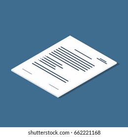 Isometric document icon. Agreement, contract symbol. Vector