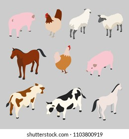 isometric domestic animal farm vector