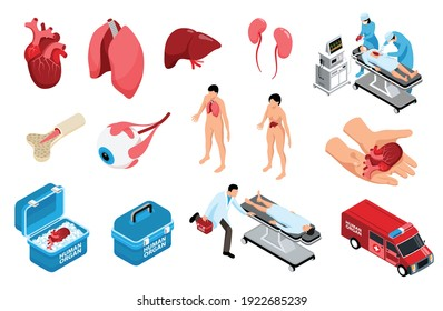 Isometric donor human organs set with isolated icons of anatomic organs storage containers and human characters vector illustration