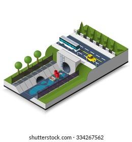 isometric drainage system illustration modern highway 3d sewerage icon