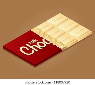 Isometric drawing of a bar of milk chocolate on a colored background