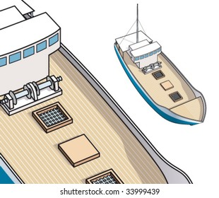 Isometric drawing of fisher boat and trawler for spiny lobster