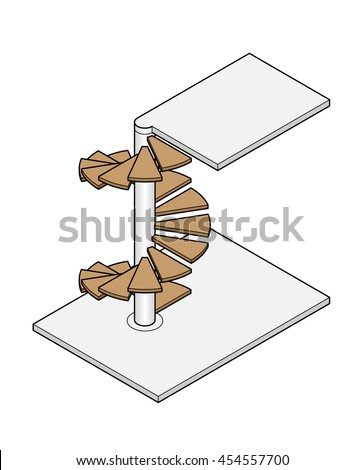 Isometric Drawing Spiral Staircase Between Two Stock Vector Royalty