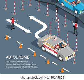 Isometric driving school composition with view of drive exercise area with barriers arrows and editable text vector illustration