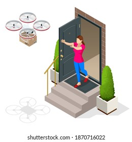 Isometric Drone Delivery. Quadcopter carrying a package to customer. Delivery of a cardboard box drone by air isolated on white background.