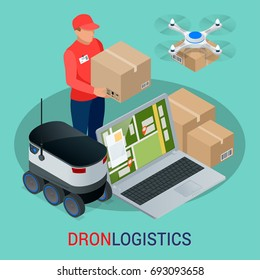 Isometric Drone Fast Delivery of goods in the city. Technological shipment innovation concept. Autonomous logistics.  651711517