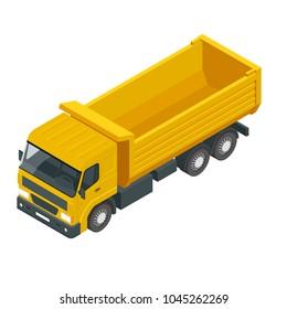 Isometric a dump truck, dumper, tipper truck isolated on white.