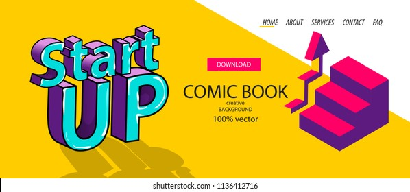 Isometric dynamic startup banner. Business flat arrow step stairs site background template. Header vector design. Digital 3d comic text pop art phrase. Yellow color. Start up business idea.