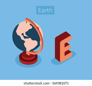 Isometric E letter English alphabet, word Earth