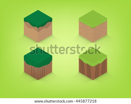 isometric earth with green