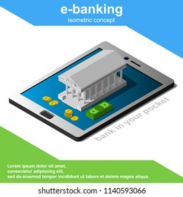 Isometric e-banking concept includes smartphone or tablet and bank building vector illustration.