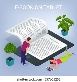 Isometric E-book concept. University Computer Classroom. Online Education and  Library with Students.  Vector 3d flat illustration
