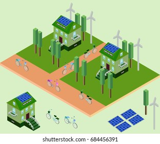 Isometric eco elements for city, greenhouse, bicycle, charge, windmill in vector