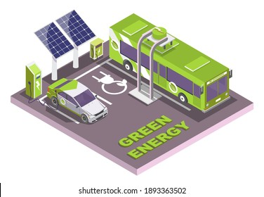 Isometric eco transport, electric vehicle charging station with solar panels, flat vector illustration. Electromobile and city public bus. Green energy. - Shutterstock ID 1893363502