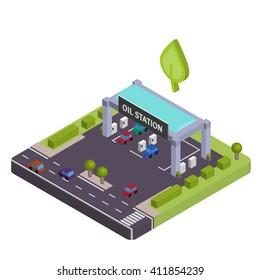 Isometric Ecological Gas station vewctor illustration