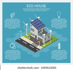 Isometric Ecology home low poly infographic concept of technology system vector set.