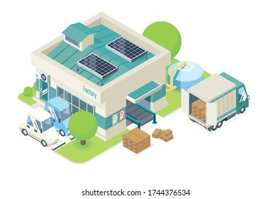 isometric ecology small factory manufacture building with sola cell on roof for save energy system goods coming from conveyor surrounded by beautiful nature suitable for modern industrial applications