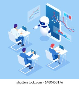 Isometric education or business training using artificial intelligence concept. Group of businessmen studies data. Science teacher bot, Artificial Intelligence, Knowledge Expertise Intelligence Learn.