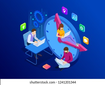 Isometric Effective time management concept. Business people plans and organizes working time, deals deadlines, achieve goals.