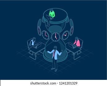 Isometric Effective time management in outline concept. Business people plans and organizes working time, deals deadlines, achieve goals.