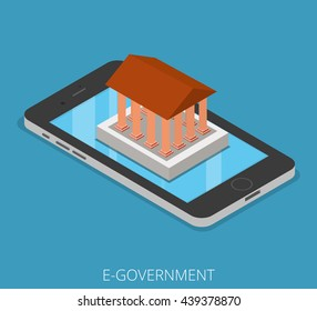 Isometric E-government Tablet Phone Mobile business concept. Flat 3d isometry web site conceptual vector illustration. Creative people collection. Ancient building with columns stands on smartphone.