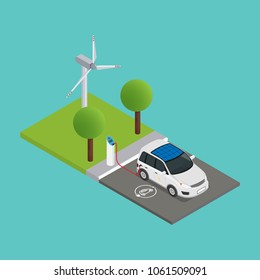 An isometric electric car is charged at the charging station and behind them is a wind turbine.