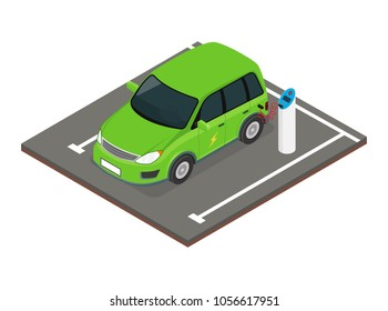 Isometric electric car charging at the charger station.