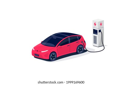 Isometric electric car charging parking at the charger station with a plug in cable. Isolated flat vector illustration with fast charge stall and plug in cable. Electrified transportation e-motion.