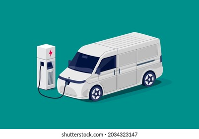 Isometric electric cargo van charging parking at the charger station with a plug in cable. Flat vector of shipping truck lorry logistic freight car. Electrified transportation delivery e-motion.