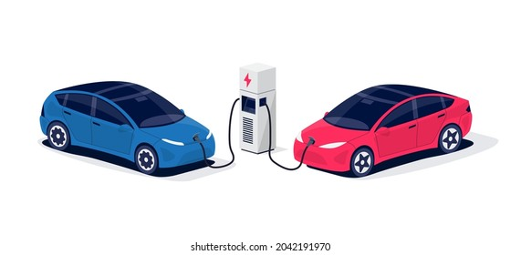 Isometric electric cars charging parking at the charger station with a plug in cable. Isolated flat vector illustration with fast charge stall and plug in cable. Electrified transportation e-motion.