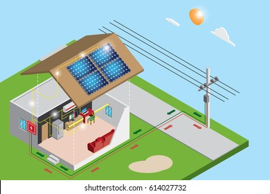 isometric electric power from solar panels use in house and sell to the government, renewable energy concept